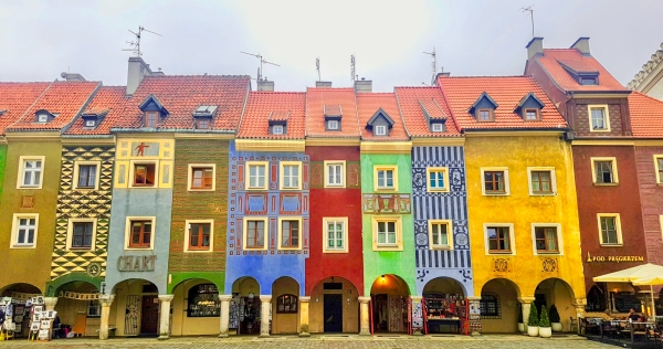 Cute and Colourful houses in Poznan market square Poland