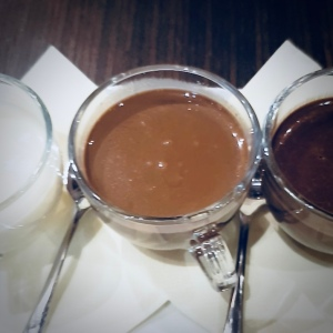 Trio of hot chocolate at Wedel in Market Square Poznan Poland